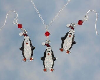 Sparkly Penguin in a Santa Hat Necklace & Earring Set- enameled charms on sterling silver chain + hooks- Winter Christmas- Free Shipping USA