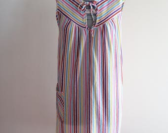 Candy stripe 70s / 80s terry cloth beach cover up loungewear sz. Small
