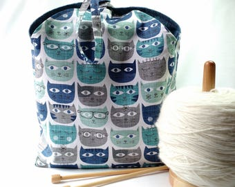 knitting crochet sock project yarn bag - Tulip Bag - drawstring WIP bag pouch purse - cute cats and blue linen - free knitting pattern