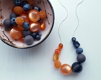 tar barrel necklace - grey, orange, moonglow, charcoal, half and half - remixed vintage beads - choose your own chain length