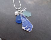Blue Sea Glass Charm Necklace Pottery Shard Jewelry Beach Pearl Sterling