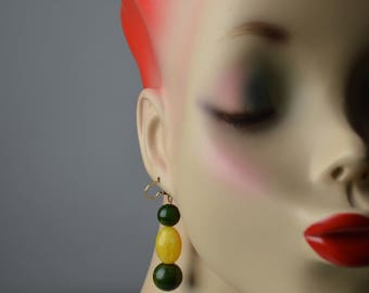 Boho Earrings, Hippie EarringsBakelite Earrings, Beaded Earrings, Dangle Earrings, Drop Earrings, Vintage Earrings, Upcycled Earrings,
