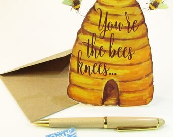 You're The Bees Knees Card / Bees Knees Greeting Card / 3 Dimensional Standup Easel Card / Birthday Card / Thank You Card / Anniversary Card