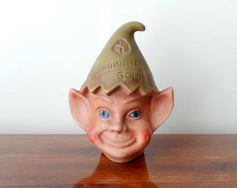 vintage elf money bank, Brownie Gold, girl scouts, elf, pixie, home decor, collectible
