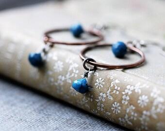 Apatite Copper Hoops | Boho Rustic Earrings | Gypsy Earrings | Open Circle Earrings | Copper Earrings | Boho Earrings | Blue Earrings