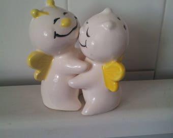 Vintage Anthropomorphic Hugging Bees  Salt and Pepper Shakers