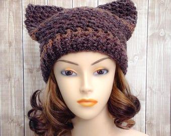 Brown Womans Cat Hat, Ladies Pussy Cat Winter Beanie
