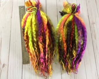 "Hand Dyed Teeswater Long Locks, 12+ inches most around 15-18 inches. Doll Hair, 1 oz bundle ""Lava Lamp Fade"", Tailspinning, Teeswater Locks"