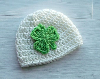 Shamrock Baby Hat, St Patricks Day Baby Hat, Irish Baby Hat, Newborn Baby Hat, Lime Shamrock Crochet Baby Hat, Baby Shower Gift