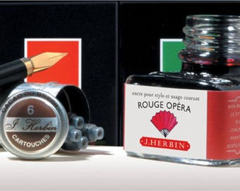 J. Herbin Fountain Pen Ink  -  Rouge Opera - 1 oz Bottle