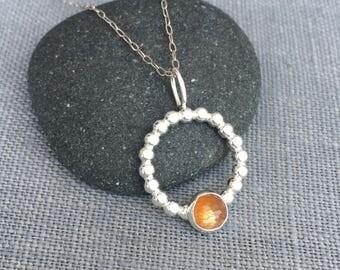 Golden Moonstone Necklace - Golden Moonstone Pendant - Gold Moonstone Necklace - Silver Circle Necklace - Autumn Necklace - Silver and Gold