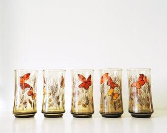 Set of 5 Smoky Retro Butterfly Glasses / Vintage Glassware / 70s Bohemian Smoky Amber Glass Set / Vintage Butterflies