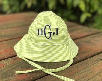 Infant Sun Hat - Newborn Sun Hat - Personalized Baby Sun Hat - Monogrammed Bucket Hat - Bucket Hat with Monogram - Striped - Solid Colors