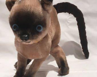 Vintage Siamese Cat Stuffed Plush Toy 1960's Like Steiff