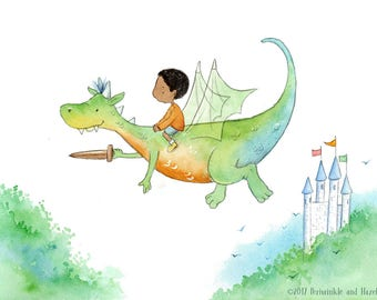 African American Boy Riding Green and Orange Dragon - Art Print - Children
