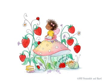 The Strawberry Patch - African American Fairy in Garden- Curly Brunette - Art Print