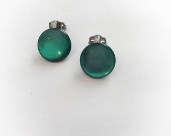 Vintage Green Moonglow Lucite Disc Earrings Clip On