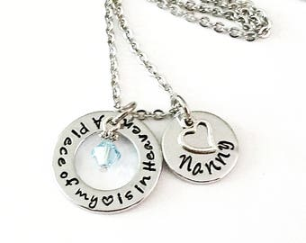 A Piece of My Heart is In Heaven, Personalized Memorial Necklace, Memory of Mom, Loss of Father, Memory Necklace, Remembrance Jewelry