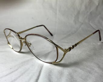 1980s Readers Choice Oversized Eyeglasses +2.75 Magnification - Gold with Tortoiseshell Enamel Accent