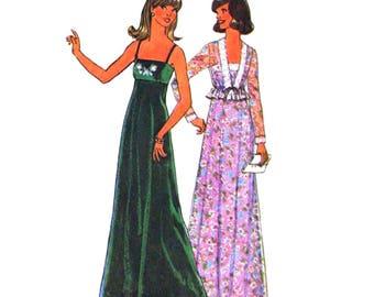 70s Jacket & Empire Maxi Dress Pattern Simplicity 7807 Shoulder Strap Evening Dress, Shrug Womens Bust 34 Vintage Sewing Pattern