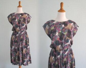 Vintage 90s Rayon Dress - Pretty 90s Purple and Green Print Dress - Vintage 1990s Dress M
