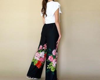 70s FLORAL print high waist WIDE LEG trousers M