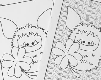 Printable Coloring Page - Kid Colouring Page - Coloring Page for Adults - Instant Download PDF - Fuzzling - St. Patrick's Day Digital Art