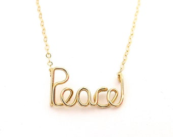 Gold Peace Necklace. 14k Gold Filled Peace Necklace by Aziza Jewelry