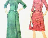 Uncut McCalls 8560 1960s Fitted Robe in 2 lengths, dart fitted bodice, standing collar, front button closing  Vintage Sewing Pattern Bust 36