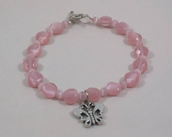 Pink Cat's Eye Glass Beaded Bracelet with Butterfly Charm and Toggle Clasp