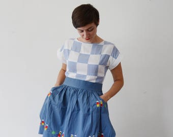 1950s Blue Cotton Embroidered Apron - OSFM