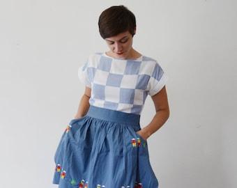 1950s Blue Cotton Embroidered Apron - OSFM