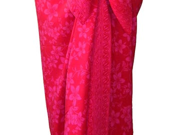 Batik Sarong Skirt Women's Clothing Pareo Wrap Skirt Hawaiian Beach Sarong Wrap - Beach Cover Up - Red & Pink Batik Plumeria Sarong Skirt