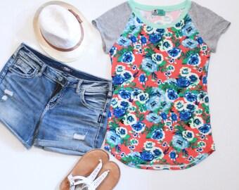Coral Floral Tshirt, Grey Sleeves, Mint Neckband, Flower Tshirt, Womens Tshirts, Tee Shirts, Summer Tops,  Flower Print, Blue Bells