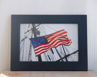 American Flag Art, Frame Patriotic Photography, Red White and Blue Nautical Home Decor Print
