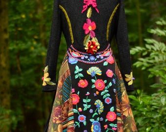 Reserved for C. Floral sweater COAT, fantasy art to wear, refashioned OOAK clothing, up cycled sweaters, Woodland style coat