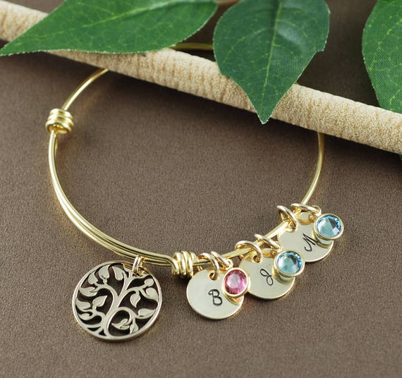 Jewelry for Grandma, Personalized Bracelet for Grandma, Gift for Grandma, Birthstone Family Tree, Family Tree Personalized, Family Gift