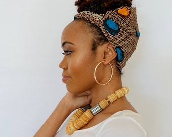 Wide Headband Wrap Satin Lined Head Wrap Pineapple Bun Wrap Ankara African Print Wrap Turban Wide Hair Wrap - Mali or Choose Print