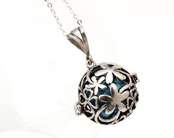 Angel caller clover shamrock locket with choice of colored chime ball- harmony bell- pregnancy necklace- Mexican Bola necklace- Silver plate