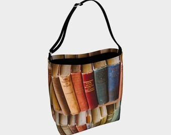 Library Book Bag, Over The Shoulder Adjustable Tote Bag, Gift for Book Lover, Reading, Books, Book Tote