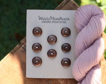 8 Black Walnut Buttons- Wooden Buttons- Eco Natural Buttons for Crafting, Sewing, Knitting
