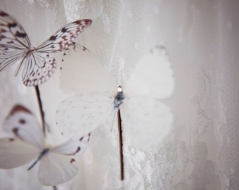 Hand Cut silk butterfly hair pins - Trio of Delicate creams with Swarovski Crystals