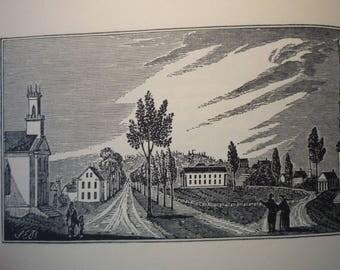 Framingham Massachusetts Town Engravings 19th century scene - New England Antiquarian Society - framable gift town historic scene
