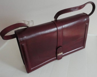 70s Burgundy Genuine Leather Clutch Purse Made in Italy