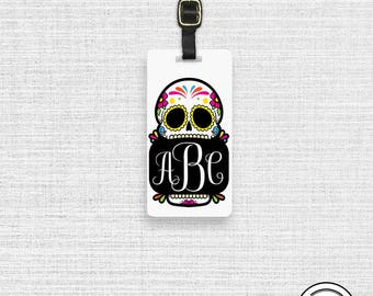 Luggage Tag Monogram Sugar Skull Luggage Tag,  Name or Monogram on Front, Printed Personalization Address on Back Single tag