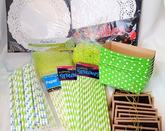 Birthday Party Supplies Grab Box - Party Suppy Grab Bag - Straws, Decor, Etc - Lime Green & Aqua