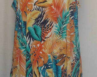 Plus Size Tank Top, Plus Size Tunic, Coco and Juan, Lagenlook, Orange Turquoise Print, Angled, Tank Top Size 1 Fits 1X,2X Bust  to 50 inches