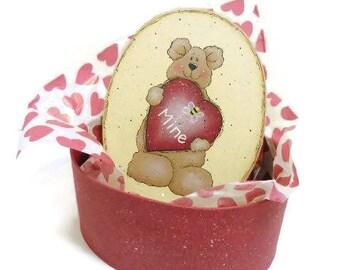Valentine Bear Candy Box   Tole Painted Paper Mache Valentine Box