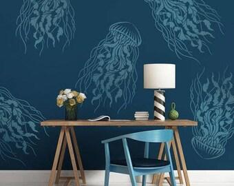Large Jellyfish Nautical Stencil - Reusable Stencils - DIY Home Décor - Easy DIY