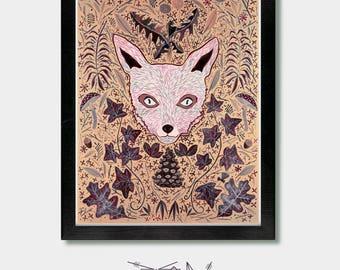 Fox - All The Little Things. Foxes, Fox Art, Fox Print, Fox Decor, Woodland, Wolf, Forest, Wolf Art, Wolf Print, Seattle, Japanese, Oregon